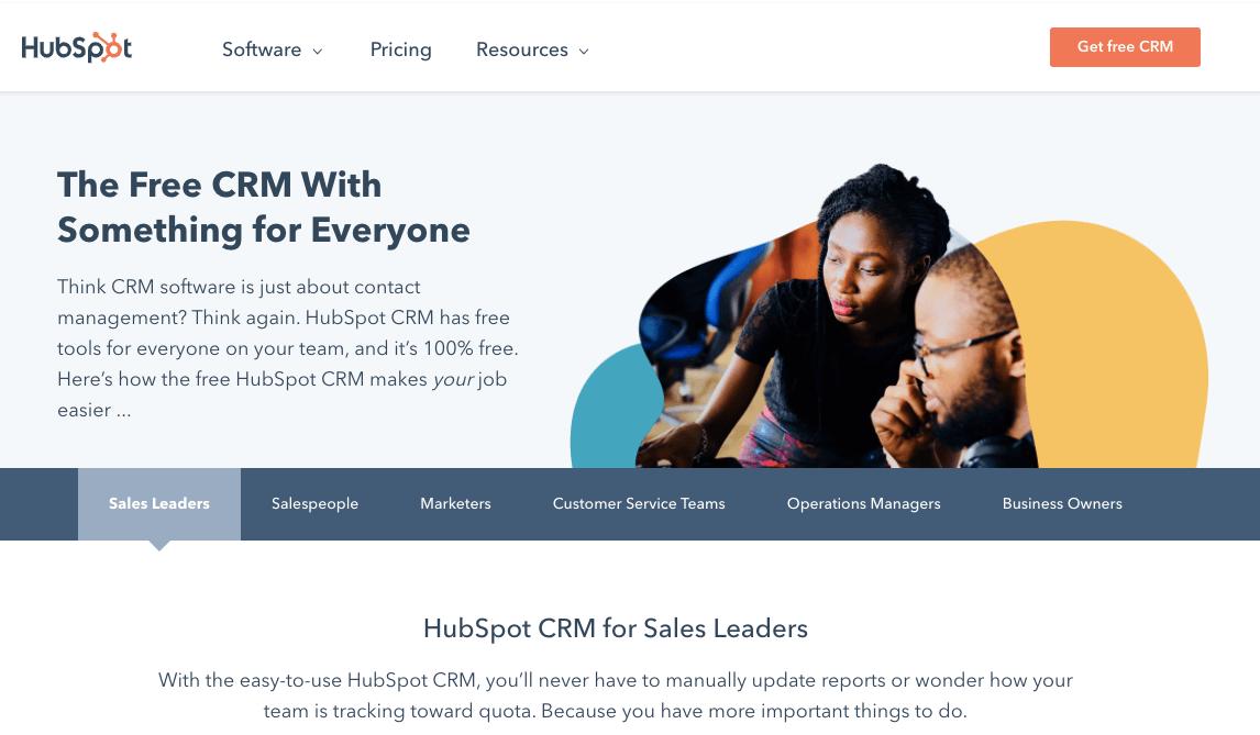 screenshot de Hubspot